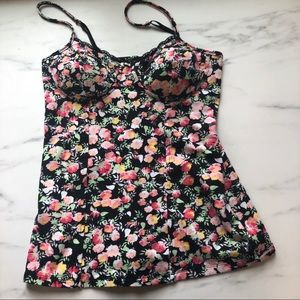 Candies Black Floral Bandeau Tank Top Small
